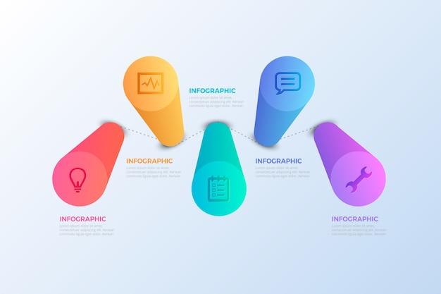 Diseño infográfico de barras 3d