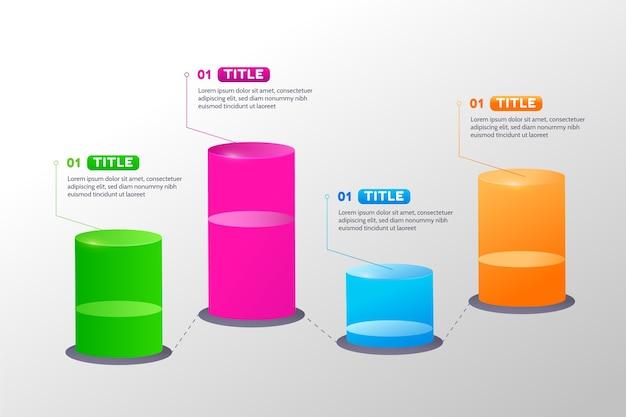 Diseño infográfico de barras circulares 3d