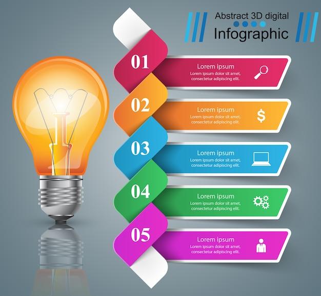 Diseño infográfico bombilla, icono de luz.