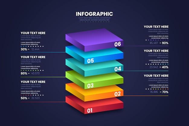 Diseño infográfico de capas de bloques 3d