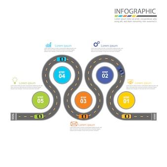 Diseño infográfico de carretera.