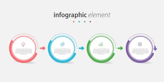 Diseño infográfico de círculo creativo con líneas de 4 pasos.