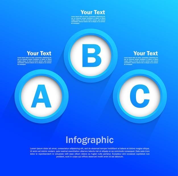 Diseño infográfico con círculos en color azul.