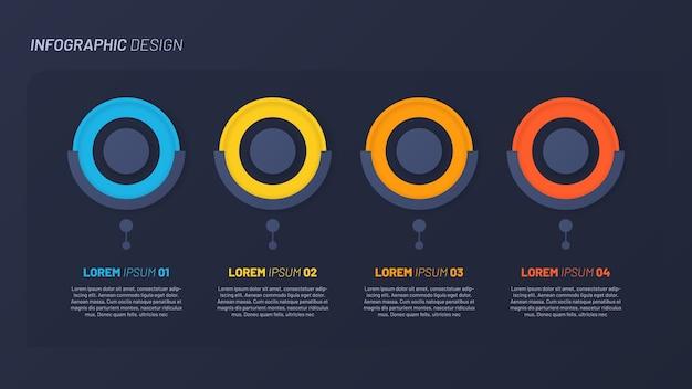 Diseño infográfico colorido, plantilla. 4 pasos.