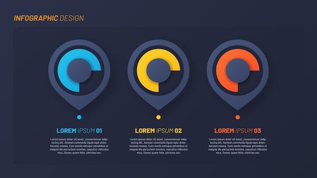Diseño infográfico colorido, plantilla, concepto, presentación. 3 pasos