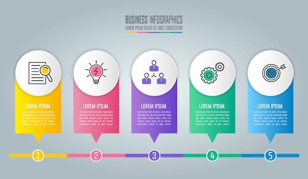 Diseño infográfico concepto de negocio con 5 opciones, partes o procesos.