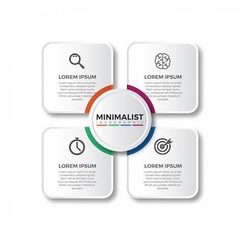Diseño infográfico cuadrado con iconos