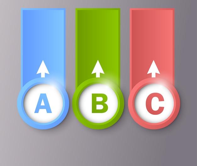 Diseño infográfico con cuadrados y letras.