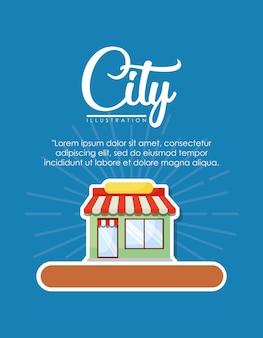 Diseño infográfico de elementos de la ciudad con el icono de la tienda