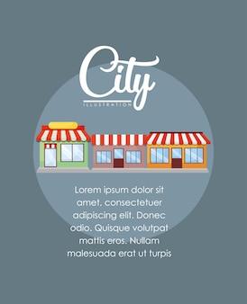 Diseño infográfico de elementos de la ciudad con tiendas