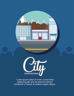 Diseño infográfico de elementos de la ciudad