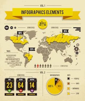 Diseño infográfico de mapa mundial