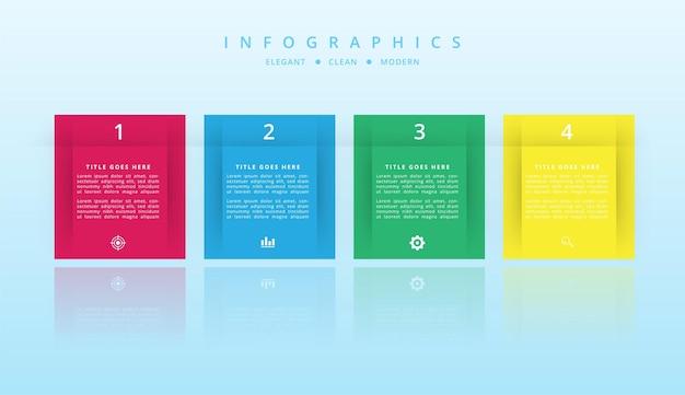 Diseño infográfico con degradado y efecto de sombra de papel 5 opciones