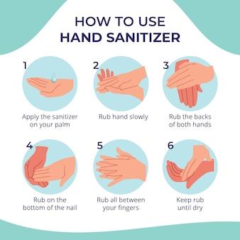 Diseño infográfico de desinfectante de manos