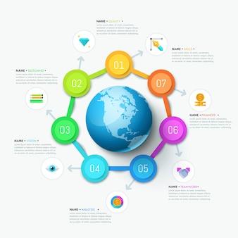 Diseño infográfico, diagrama redondo con 7 elementos circulares.