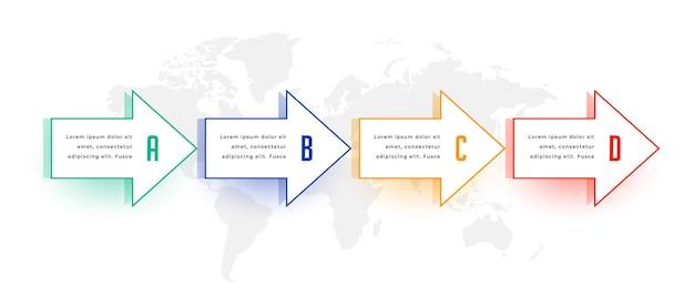Diseño infográfico direccional estilo flecha