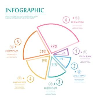 Diseño infográfico elegante con elementos de línea fina de colores