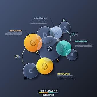 Diseño infográfico con elementos circulares transparentes separados.