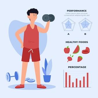 Diseño infográfico con formación de hombre.