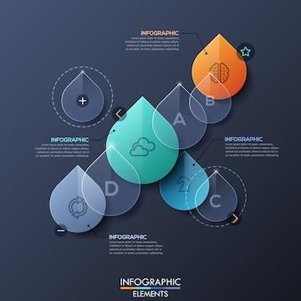 Diseño infográfico con gotas de agua transparentes.