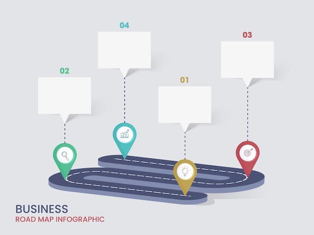 Diseño infográfico de la hoja de ruta empresarial con pasos y cuadro de chat vacío para su texto.