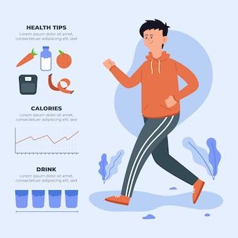 Diseño infográfico con hombre corriendo