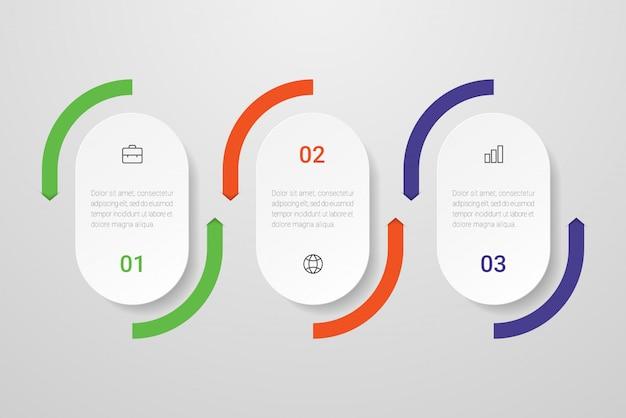 Diseño infográfico con iconos y 3 opciones o pasos.