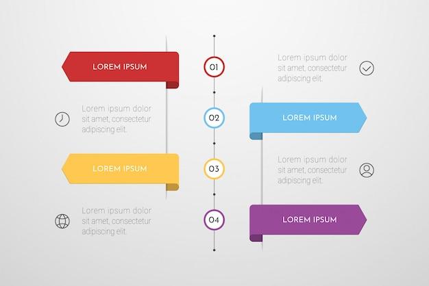 Diseño infográfico con iconos y 4 opciones o pasos.