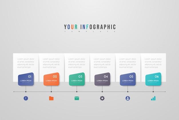 Diseño infográfico con iconos y seis opciones o pasos. concepto de negocio de infografía. se puede utilizar para gráficos de información, diagramas de flujo, presentaciones, sitios web, pancartas, materiales impresos.