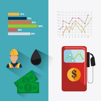 Diseño infográfico de la industria petrolera y petrolera.