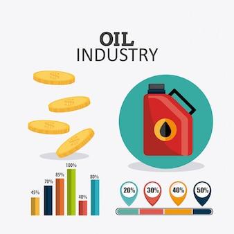 Diseño infográfico de la industria petrolera y petrolera