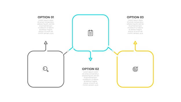 Diseño infográfico de línea delgada con iconos cuadrados y de marketing concepto de negocio con 3 opciones o pasos