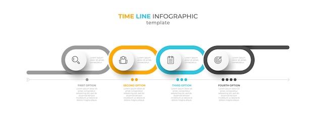Diseño infográfico de línea de tiempo con 4 opciones o pasos.