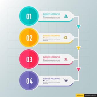 Diseño infográfico de línea de tiempo de 4 pasos.