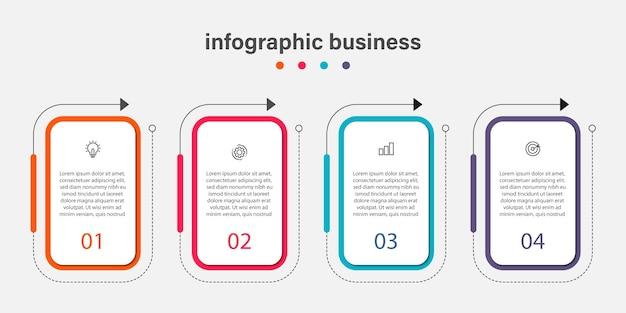 Diseño infográfico con línea de tiempo de esquema empresarial de 4 pasos