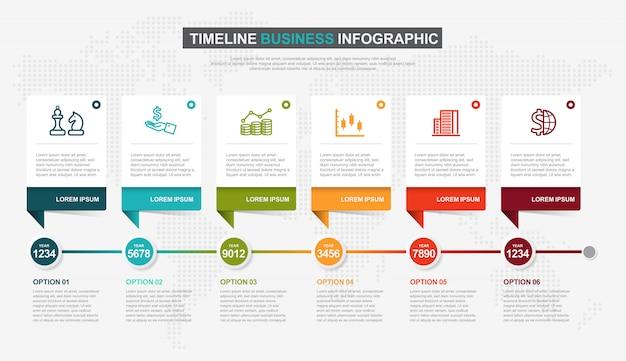Diseño infográfico de la línea de tiempo con estilo moderno.