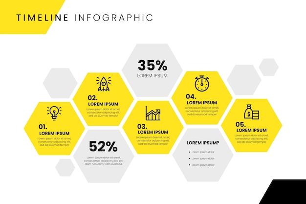 Diseño infográfico de línea de tiempo