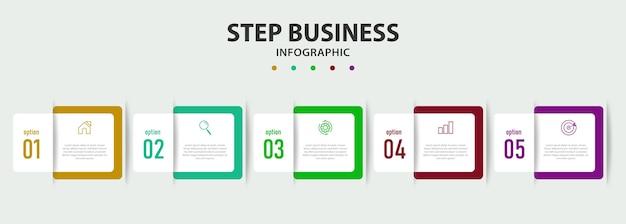 Diseño infográfico con líneas de 5 pasos.