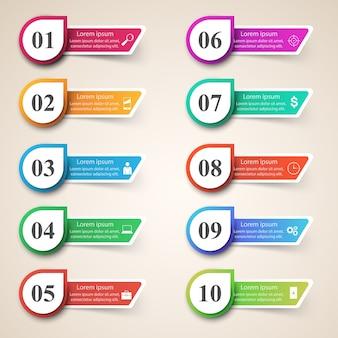 Diseño infográfico lista de 10 artículos.