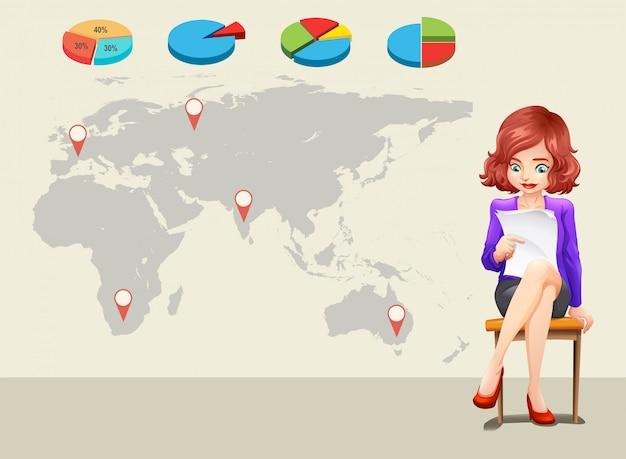 Diseño infográfico con mapamundi y empresaria.