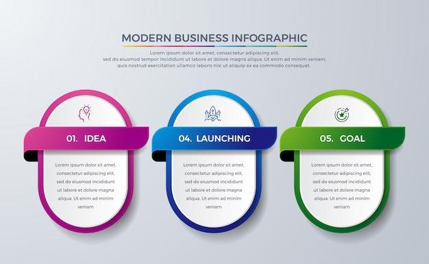 Diseño infográfico moderno con 3 procesos o pasos.