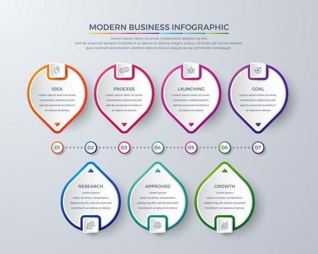 Diseño infográfico moderno con 7 procesos o pasos.