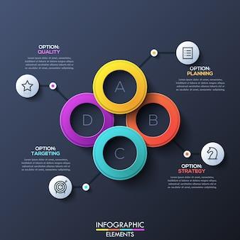 Diseño infográfico moderno con anillos superpuestos con letras