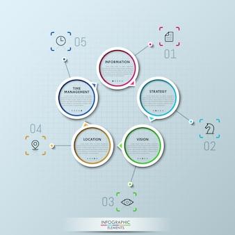 Diseño infográfico moderno con cuatro elementos circulares.