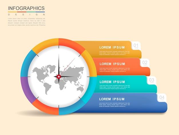 Diseño infográfico moderno con elementos de reloj y banner.