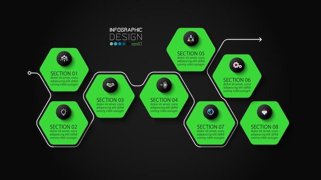 Diseño infográfico moderno hexagonal.