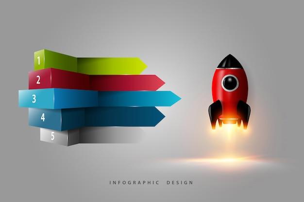 Diseño infográfico representación 3d moderna de cohete digital