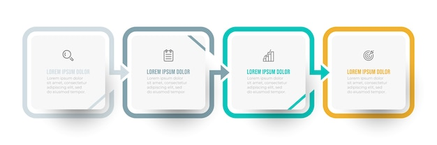 Diseño infográfico simple con flecha e icono. concepto de negocio con 4 opciones o pasos.