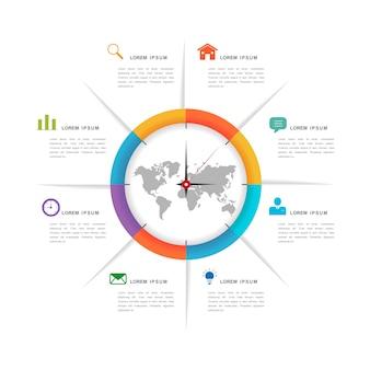 Diseño infográfico de simplicidad con elementos de gráfico circular.