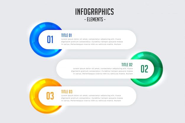 Diseño infográfico con tres pasos.